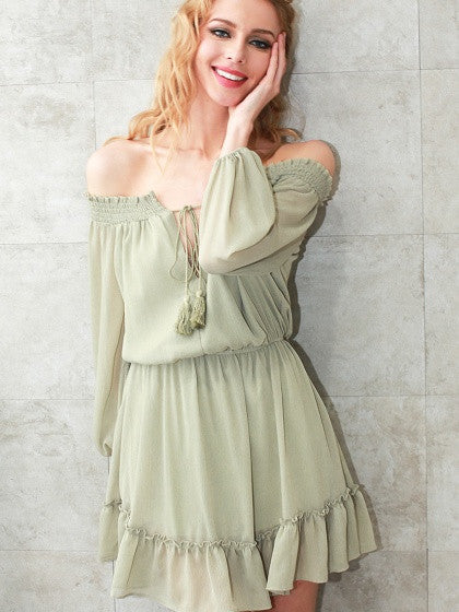 Green Off Shoulder Tie Front Blouson Sleeve Ruffle Hem Mini Dress