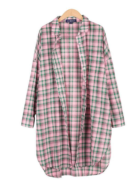 Pink Plaid Side Split Longline Shirt