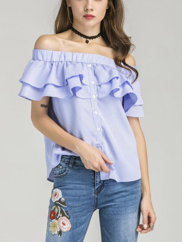 34d1c34f81535 Blue Gingham Off Shoulder Double Layer Ruffle Button Front Top ...