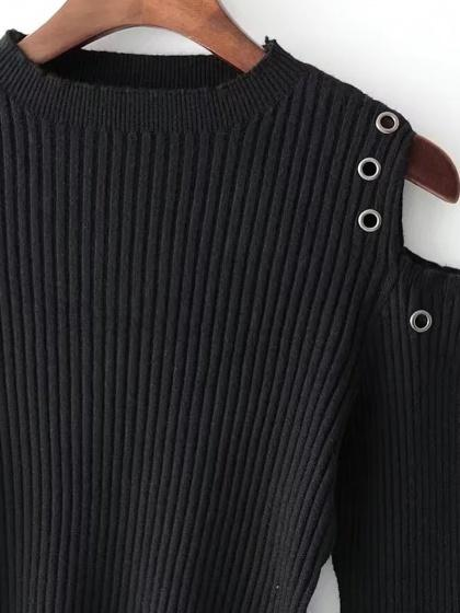 Black Cold Shoulder Eyelet Detail Rib Knit Sweater