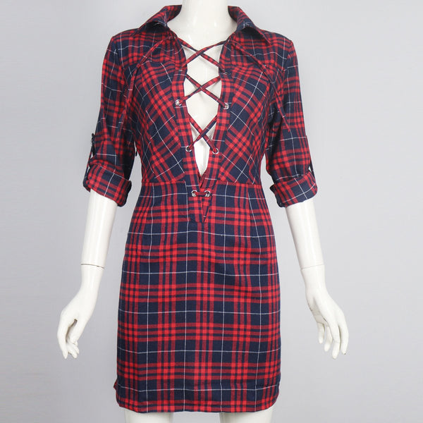 Red Plaid Plunge Lace Up Front Long Sleeve Shirt Dress