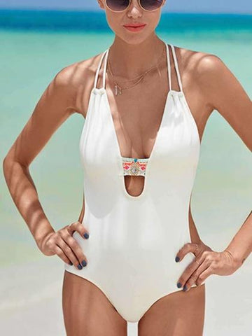 White Halter Plunge Open Back Swimsuit