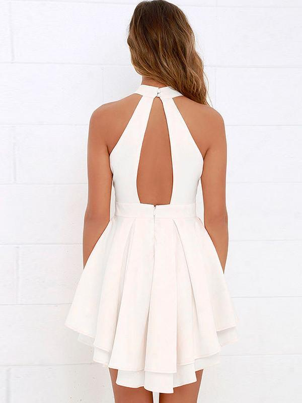 92cf122ab6d ... White Halter Cut Out Back Double Layer Pleated Skater Dress ...