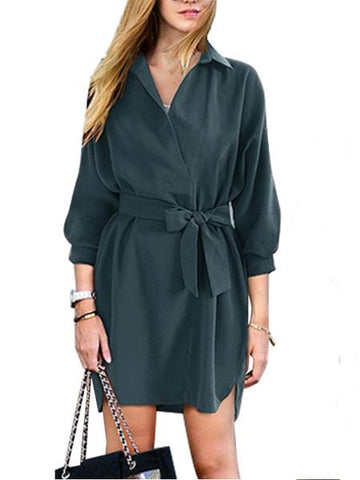 Navy Tie Waist 3/4 Sleeve Dipped Hem Shirt Dress