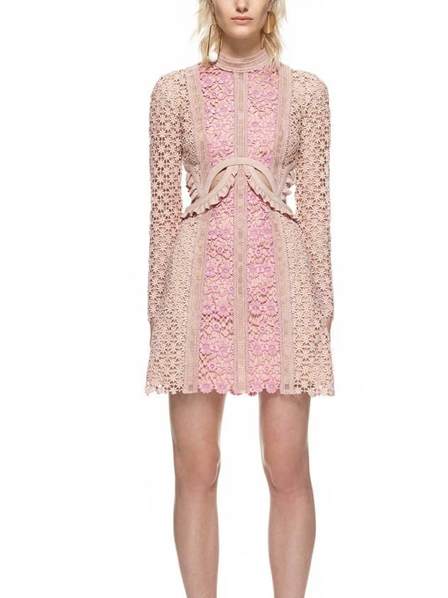 Pink High Neck Long Sleeve Cut Out Ruffle Detail Lace Dress