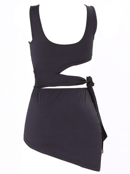 Black Cut Out Detail Top And Asymmetric Hem Bodycon Mini Skirt