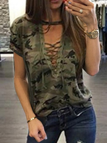 Green Camo Plunge Lace-up Front Short Sleeve T-shirt