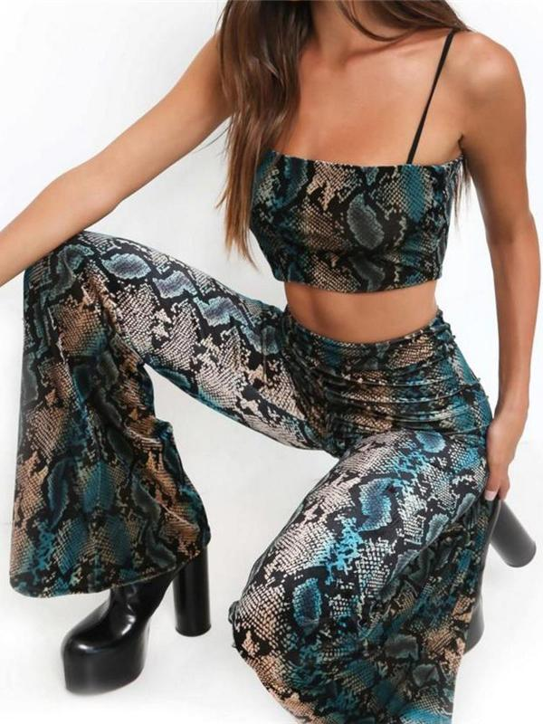 cc855dd2d0191 ... Green Snakeskin Spaghetti Strap Crop Top And Flare Pants ...