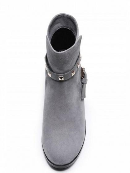 Gray Suede Stud Buckle Strap Ankle Boots