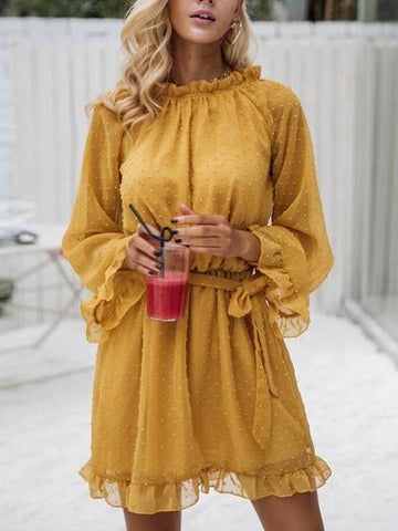 Yellow Ruffle Trim Tie Waist Long Sleeve Mini Dress