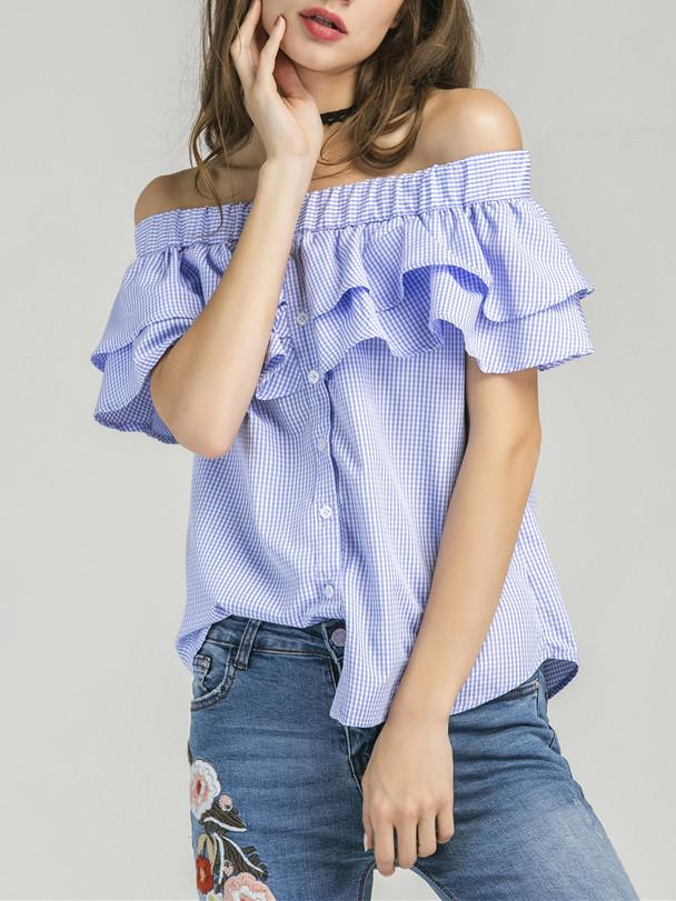 f341739ba6d10 ... Blue Gingham Off Shoulder Double Layer Ruffle Button Front Top ...