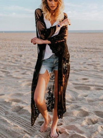 Black Embroidery Detail Long Sleeve Chic Women Lace Longline Kimono