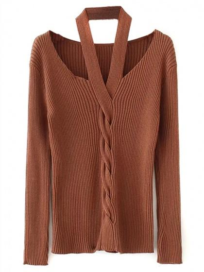 Brown Halter Cable Long Sleeve Knit Sweater