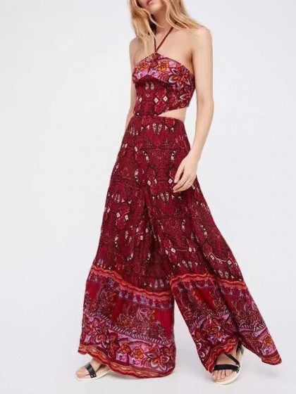 Red Halter Cut Out Open Back Wide Leg Boho Jumpsuit