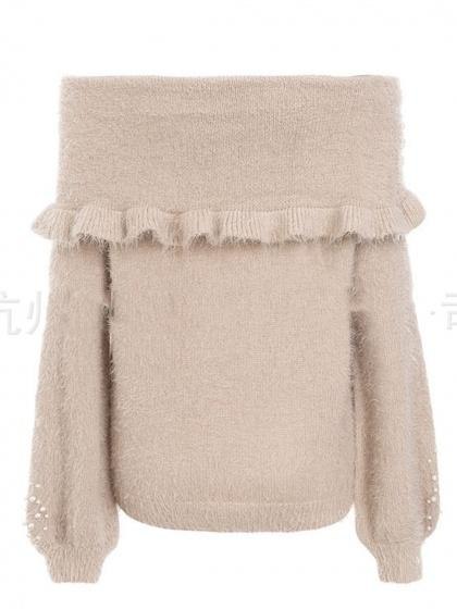 Nude Off Shoulder Beaded Detail Puff Sleeve Chic Women Knit Sweater