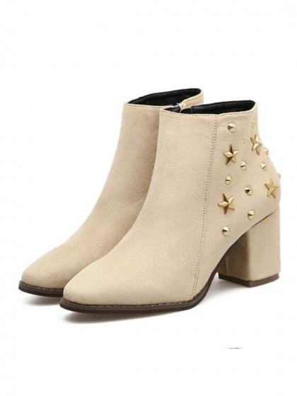 Beige Faux Suede Star Stud Embellished Ankle Boots