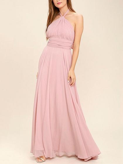 Pink Halter Tie Ruched Chiffon Maxi Dress