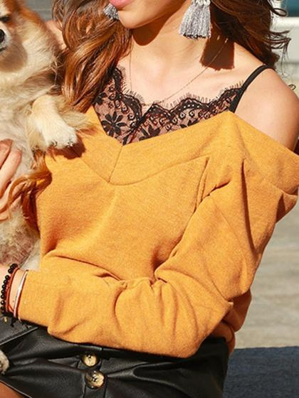 Yellow V-neck Cold Shoulder Lace Panel Long Sleeve Women Sweater