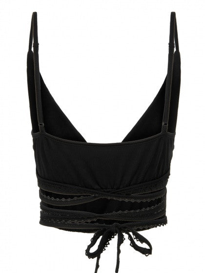 Black Cross Lace Up Strappy Bralette Top