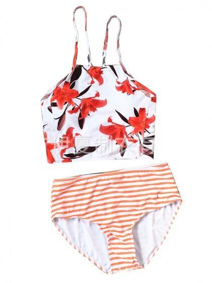 White Floral Print Bikini Top And High Waist Bottom