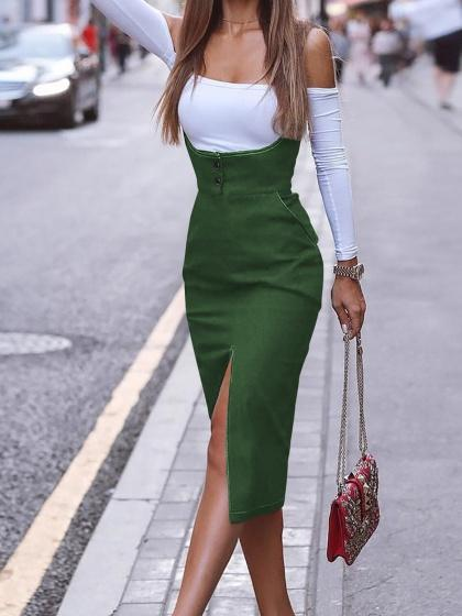 Green Cotton Shoulder Strap Split Front Women Bodycon Dress