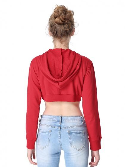 Red Drawstring Long Sleeve Cropped Hoodie