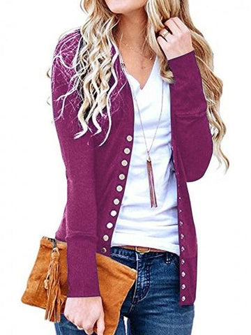 Purple Cotton Button Placket Front Long Sleeve Cardigan