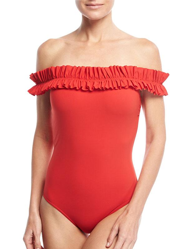 Red Off Shoulder Frill Trim One-piece Swimsuit
