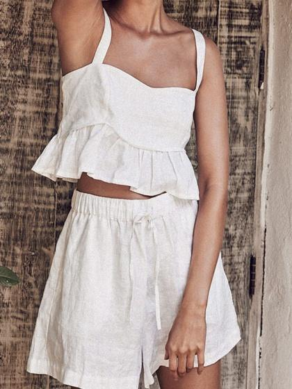White Ruffle Hem Women Crop Cami Top And High Waist Shorts