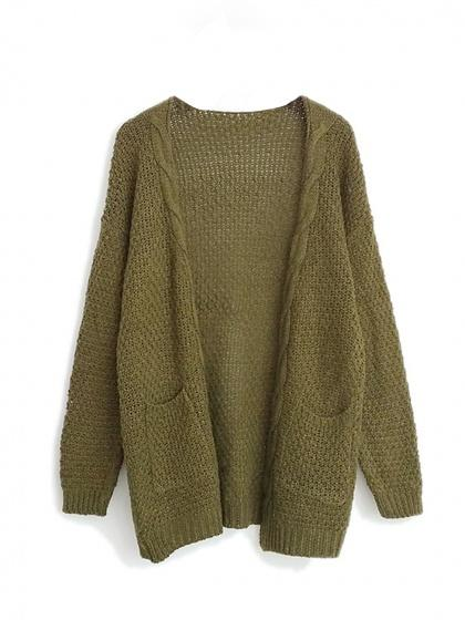 Army Green Pocket Cable Open Front Cardigan