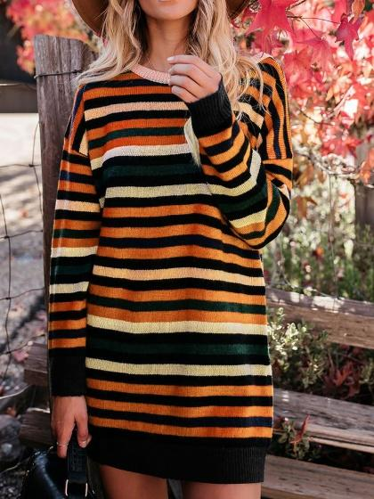 Orange Contrast Stripe Long Sleeve Women Mini Dress
