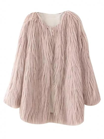 Pink Fluffy Faux Fur Longline Coat