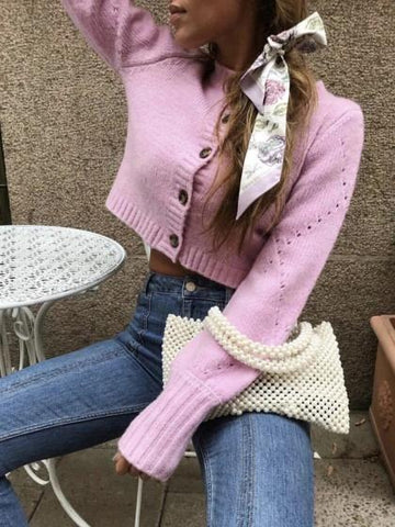 Pink Button Placket Front Long Sleeve Women Short Cardigan