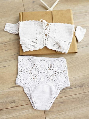 Off Shoulder Lace Up Crochet Bikini Top and Bottom