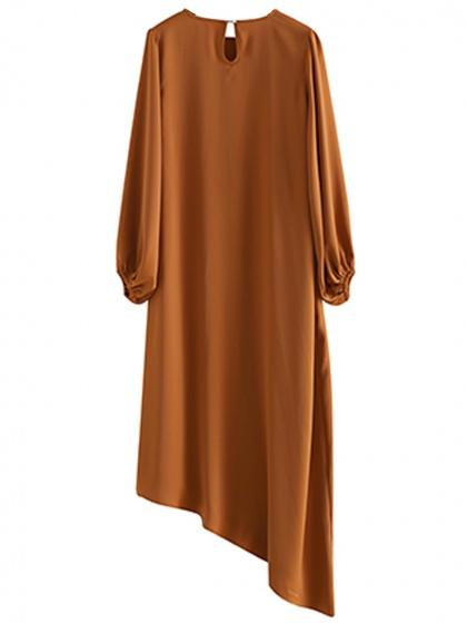 Brown Asymmetric Hem Puff Sleeve Dress