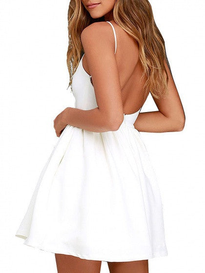1ad8cd6830c1 ... White Spaghetti Strap Backless Skater A Line Party Mini Dress ...