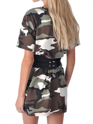 Green Camo Print Short Sleeve Tee Dress