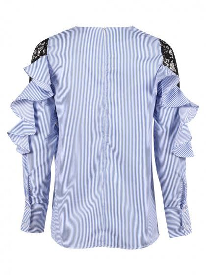 Blue Ruffle Lace Panel Sleeve Striped Top