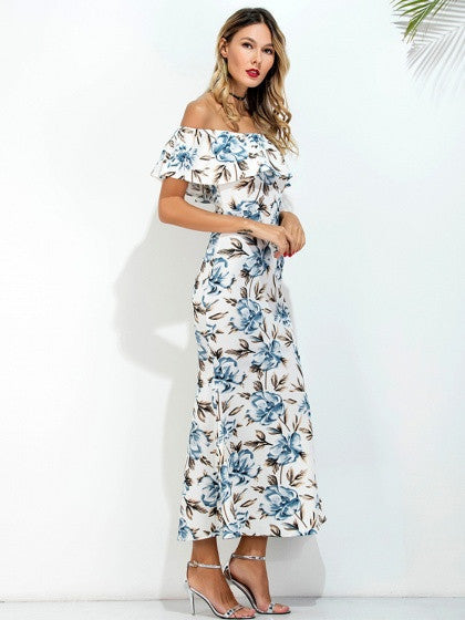White Off Shoulder Floral Printed Ruffle Back Split Slim Maxi Dress