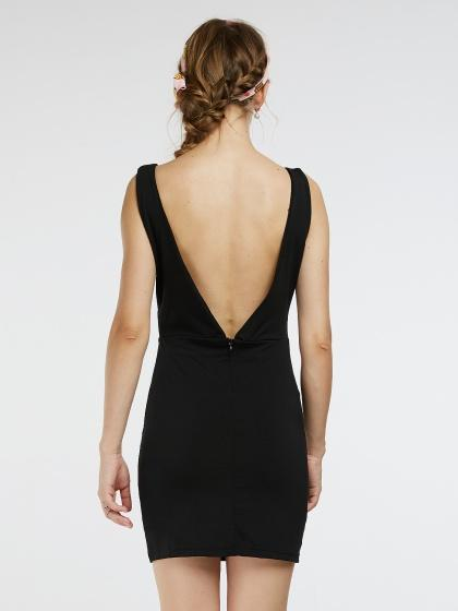 Black V Neck and V Back Lace Insert Tank Bodycon Dress