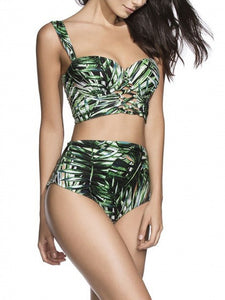 Green Tropical Printed Padded Lace Up Back Cropped Bikini Top And Bottom