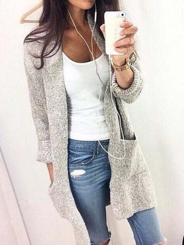Gray Open Front Long Sleeve Cardigan