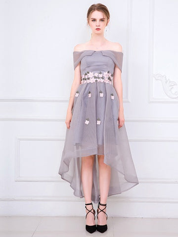 Gray Off Shoulder Embroidery Floral Dipped Hem Mesh Prom Party Dress