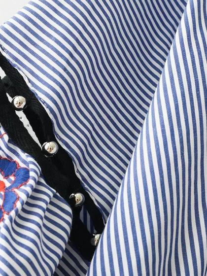 Blue Stripe Wrap V-neck Embroidery Detail Tie Side Cropped Blouse