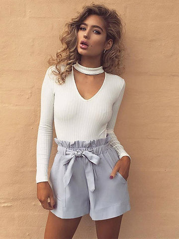 White V-neck Choker Detail Rib Knitted Sweater - MYNYstyle - 1