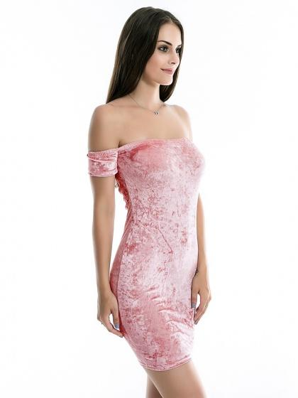 Pink Off Shoulder Velvet Bodycon Mini Dress