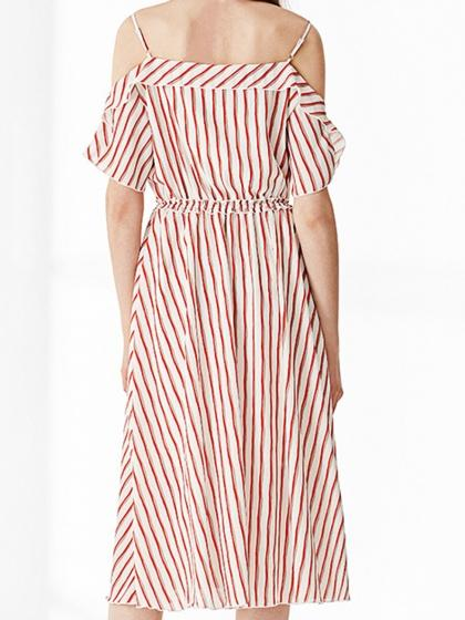 Red Stripe Cold Shoulder Frill Cami Midi Dress