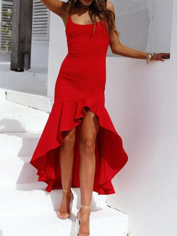 Red Ruffle Trim Split Front Women Cami Maxi Dress