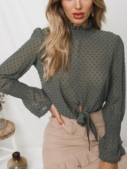 Green Chiffon Stand Collar Frill Trim Long Sleeve Chic Women Blouse
