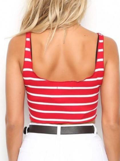 Red Stripe Ribbed Crop Tank Top
